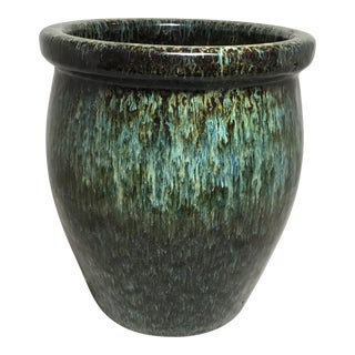 Green Dripped Glazed Flower Pot