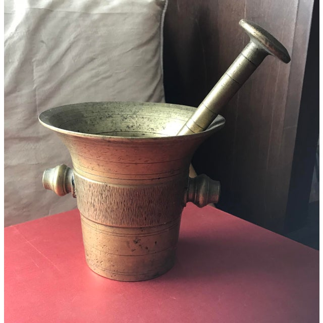 Vintage Early 1900's Hand Hammered European Brass Pestle and Mortar - Image 3 of 4