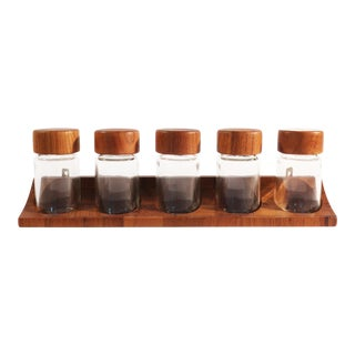 Digsmed Danish Modern Teak Spice Rack & Containers - Set of 6