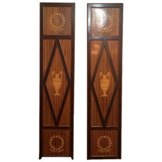 Neoclassical Pair of Mahogany and Satinwood Elaborately Inlaid Decorative Panels