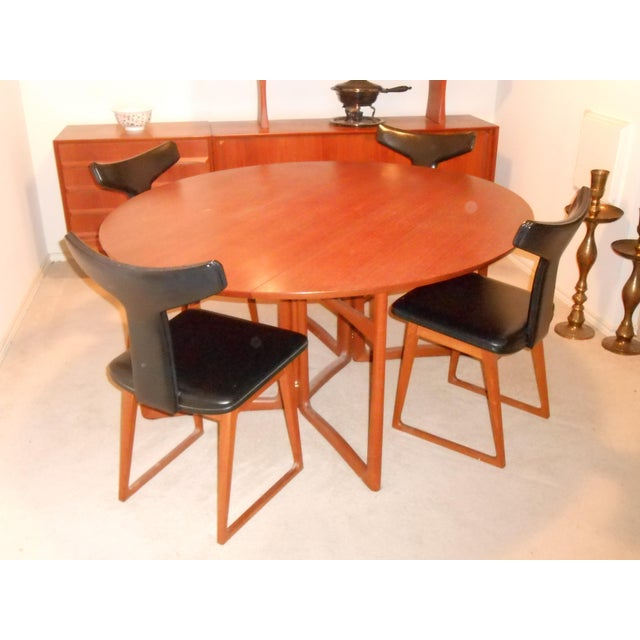 Arne Vodder for Sibast Gate Leg Teak Dining Table With 6 T-Back Black Leather Dining Chairs - Image 4 of 11