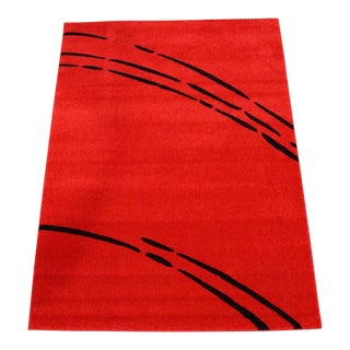 Solid Red Rug with Black Lines 4' x 6'