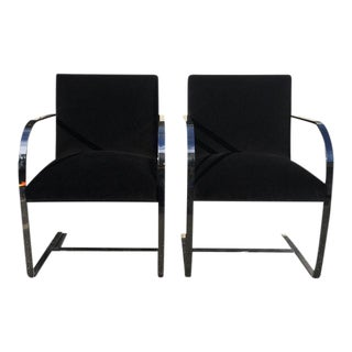 Mid-Century Milo Baughman Chrome Arm Chairs - A Pair