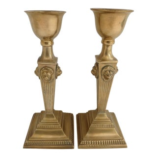 Lion Head Candle Holders - A Pair