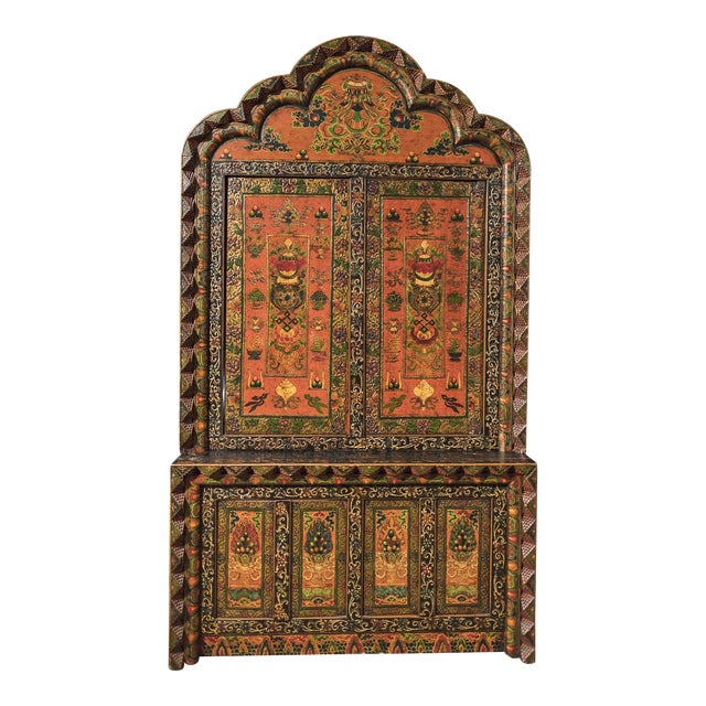 Tibetan Hand Carved & Painted Wooden Armoire - Image 1 of 4