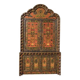 Tibetan Hand Carved & Painted Wooden Armoire