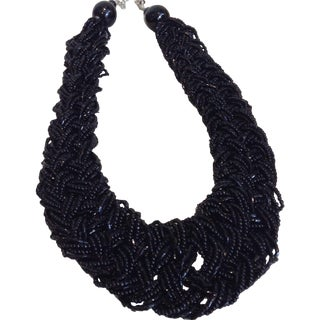 Braided Black Bead Necklace