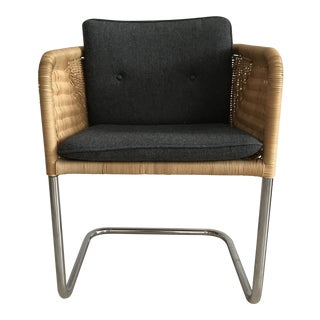 Harvey Probber Wicker Cantilever Chair With Cushions