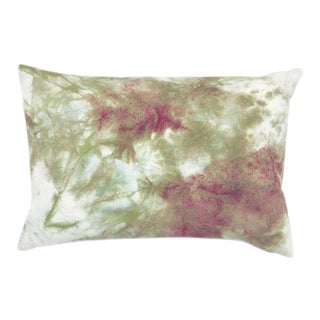 "Burgundy & Green Hand Dyed Marbled Shibori Pillow Cover - 14"" x 20"""