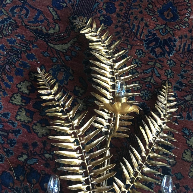 Hollywood Regency Gold Gilt Toleware Wall Sconce - Image 8 of 9