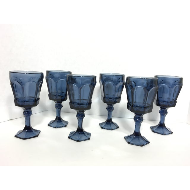 Image of Fostoria Cobalt Blue Footed Goblets - Set of 6