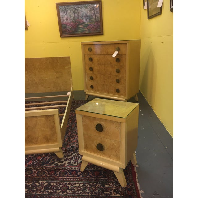 Mid-Century Blonde Nightstands Side Tables - Pair - Image 7 of 11