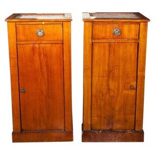 Antique Biedermeier Style Nightstands - A Pair