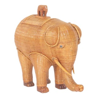 Adorable Midcentury Wicker Elephant Box