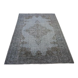 "Turkish Overdyed Gray Area Rug - 5'6"" X 9'3"""