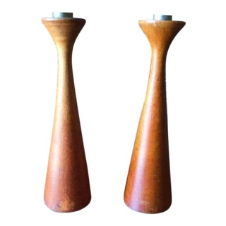 Mid-Century Danish Walnut Candle Stick Holders