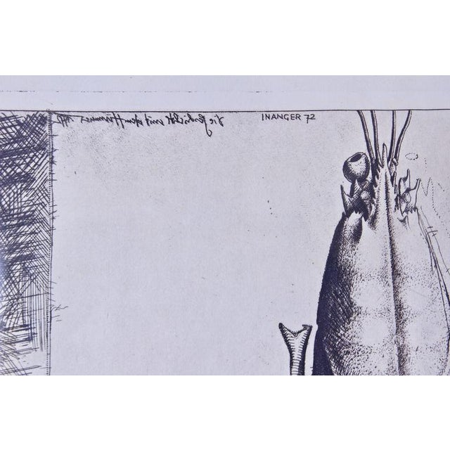 """""""Man with Lobster"""" Framed Intaglio Etching by Inanger, Munich, 1973 - Image 5 of 5"""