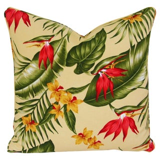 Custom Tailored Tropical Floral Barkcloth Feather/Down Pillow