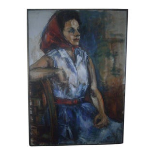 Original 1960s Oil Painting Portrait