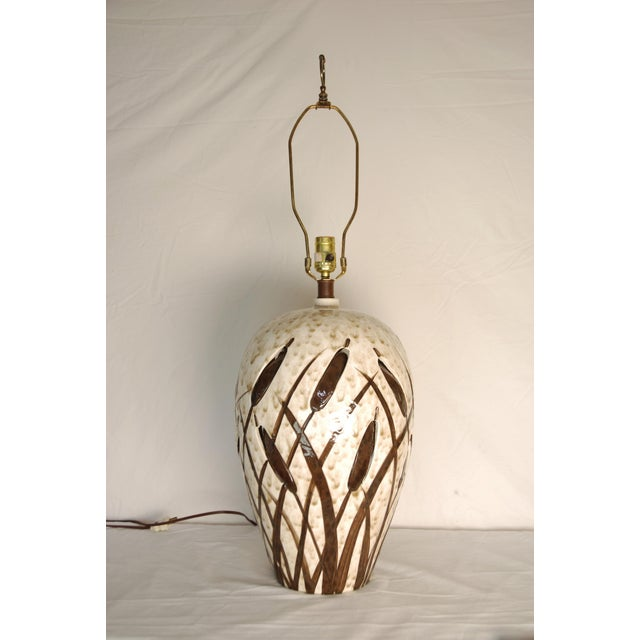 Mid-Century Cattail Lamp With Night Light - Image 4 of 8