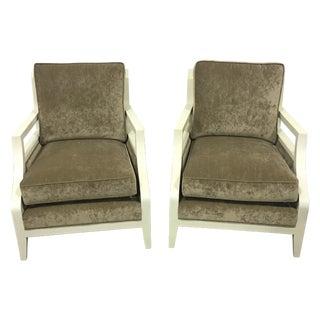Velvet Cushion Neutral Club Chairs - A Pair
