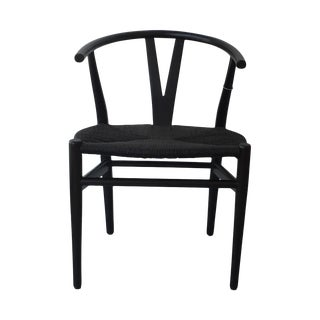 Hans Wegner Style Black Wishbone Chairs - Set of 4
