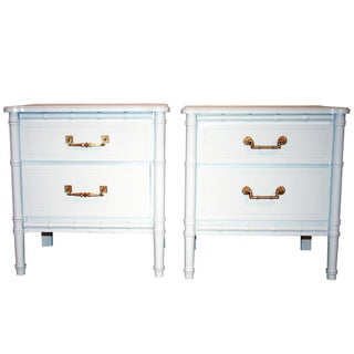 Vintage Faux-Bamboo White Nightstands - A Pair