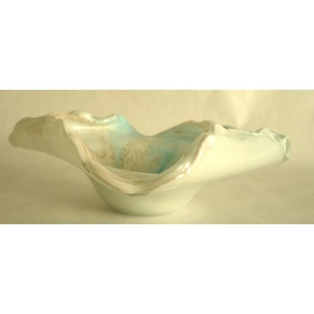Image of Light Blue & Gold Murano Glass Decorative Bowl