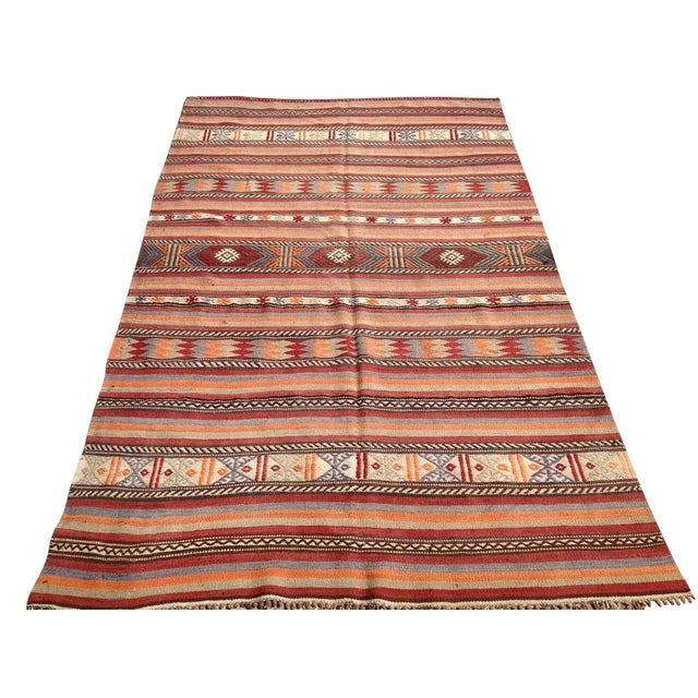 "Vintage Turkish Kilim Rug - 5'4"" x 8'11"" - Image 1 of 6"