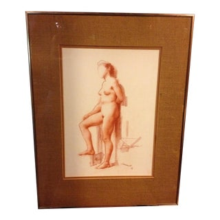 Mid-Century 1967 Pastel Nude Study of Woman