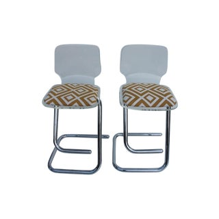 Luigi Bardini Italian Chrome Bar Stools - A Pair