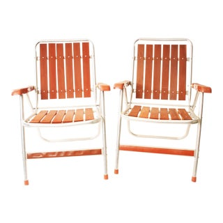 Vintage Redwood & Aluminum Folding Patio Chairs - A Pair