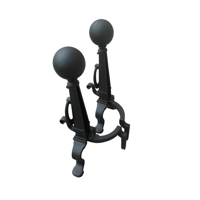 Image of Eastlake Style Cannon Ball Top Andirons - A Pair