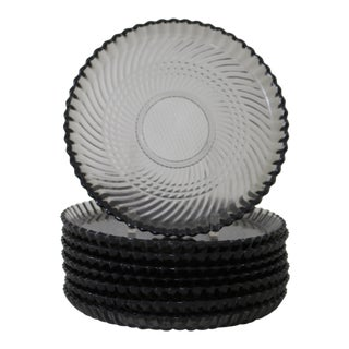 Smokey Glass Plates - Set of 8