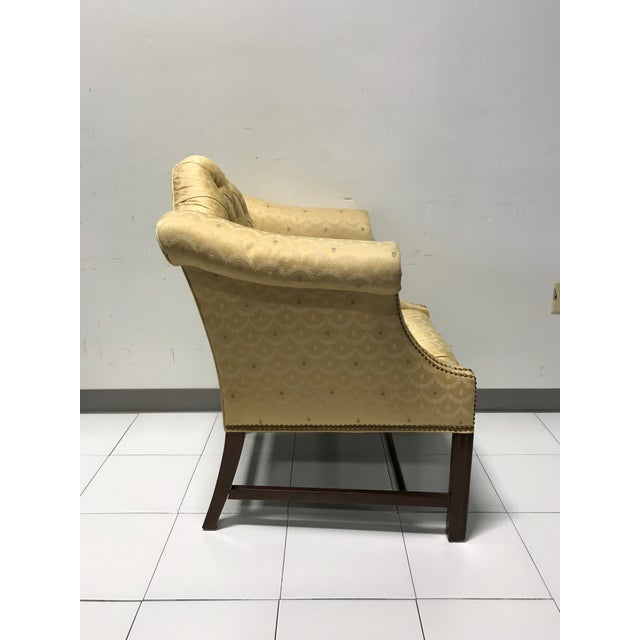 Vintage Fairington Mahogany Frame Button Tufted Arm Chair - Image 6 of 11