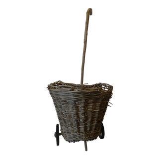 French Wicker Shopping Cart