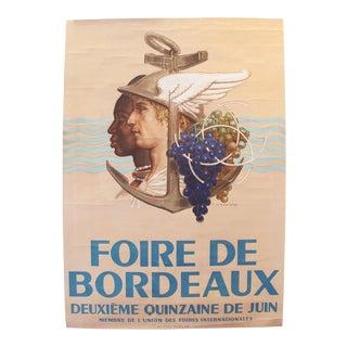 1925 Vintage French Art Deco Festival Poster, Foire de Bordeaux