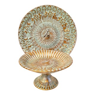 Stangl Blue & 22k Gold Ceramic Serving Set - A Pair