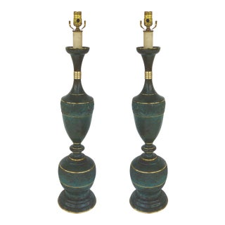 James Mont Style Mid-Century Brass Lamps - A Pair