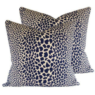 Indigo Leopard Print Pillows - a Pair