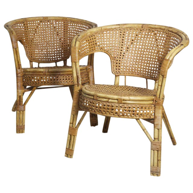 Rattan Cane Arm Chairs - A Pair - Image 1 of 5