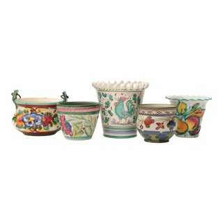 Floral Italian Art Pottery Planters - Set of 5