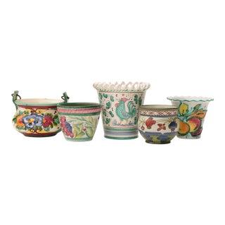 Floral Italian Art Pottery Planters - Set of 5