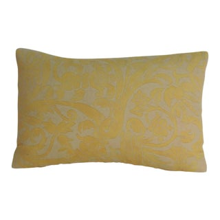 Vintage Fortuny Uccelli Maize on Oyster Lumbar Petite Decorative Pillow