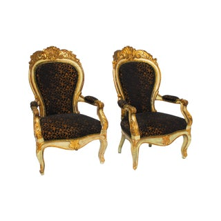 Hand Carved Louis XV Gilt Fauteuils - Pair