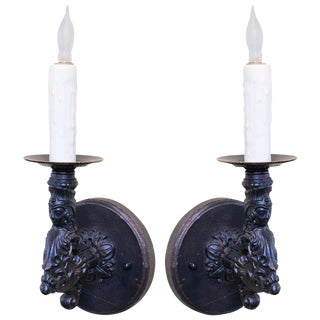 Pair of French Black Iron Antique Figural Wall Sconces