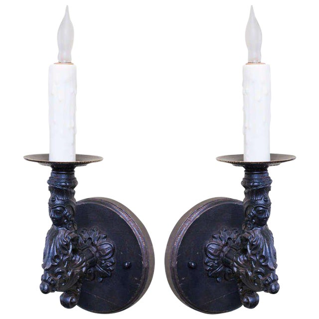 Image of Pair of French Black Iron Antique Figural Wall Sconces