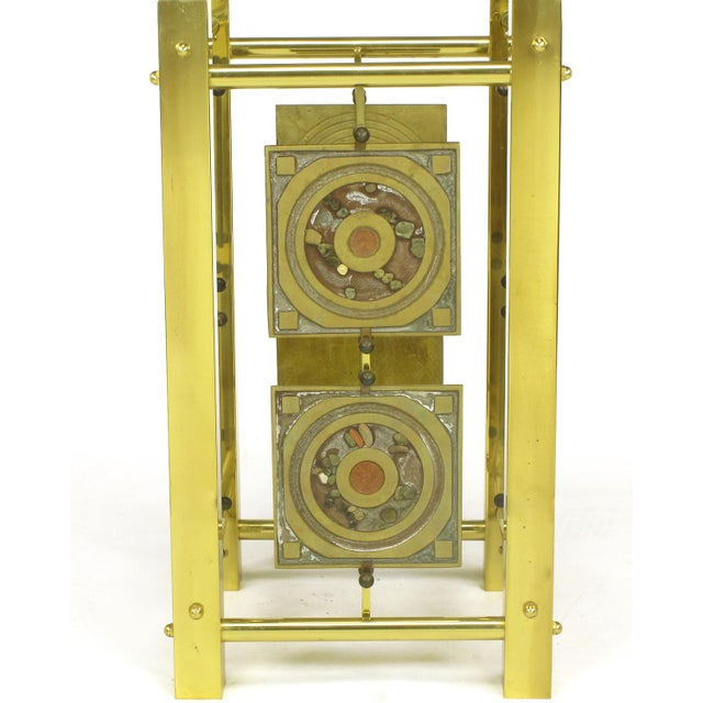 Postmodern Enameled Brass Panel Studio Side Table - Image 9 of 10