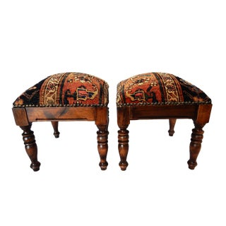 Antique Malayer Rug Stools - A Pair