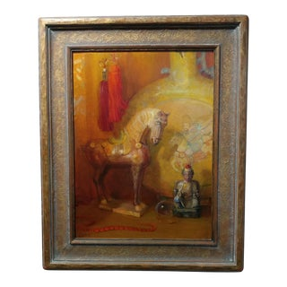 Theodore Lukits Buddha & Carousel Horse Still Life Oil Painting